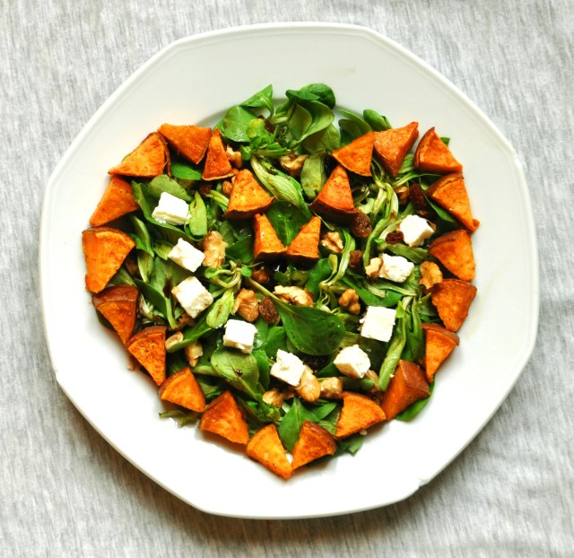 Sweet Potato and Feta Salad with Raisins and Walnuts. | Feeding The ...